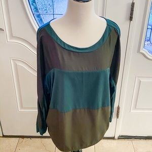 Loft Blue and Green Color Block Long Sleeved